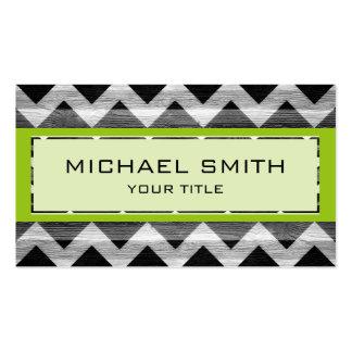 Green Modern Chevron Pattern Business Card Templates