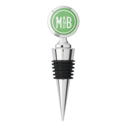 Green Modern Couples Monogram Wine Stopper