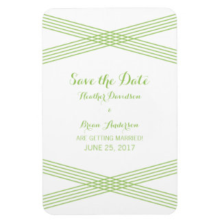 Green Modern Deco Save the Date Magnet