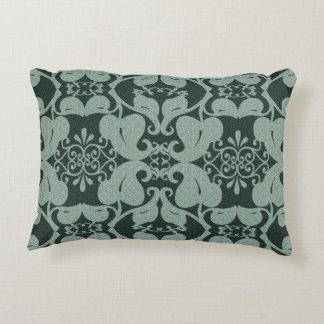 Green Modern Elegant Ornate Leaf Pattern Accent Pillow