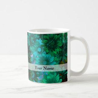 Green modern floral coffee mug