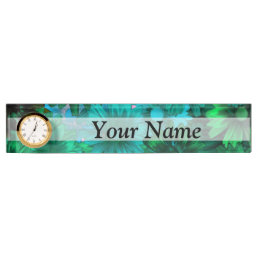 Green modern floral desk name plate