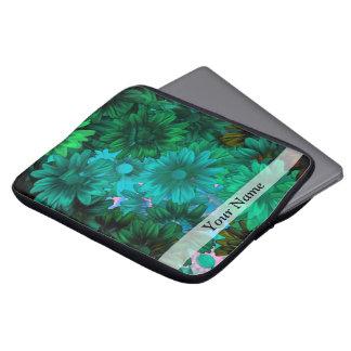 Green modern floral laptop sleeve