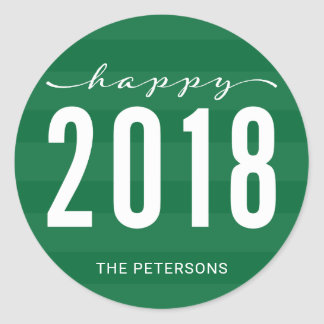 Green Modern Happy 2018 New Year Holiday Classic Round Sticker