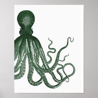 Green Modern Octopus Poster