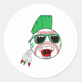 Green mohawk baseball classic round sticker