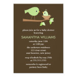 Green Mom and Baby Birds in a Nest Baby Shower Custom Invites