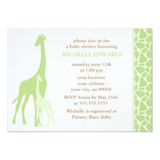 Green Mom and Baby Giraffe Baby Shower 5x7 Paper Invitation Card