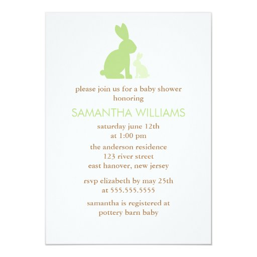 Green Mom and Baby Rabbit Baby Shower Invites