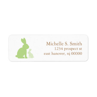 Green Mom and Baby Rabbits Label