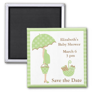 Green Mom to be with Umbrella 2 Inch Square Magnet