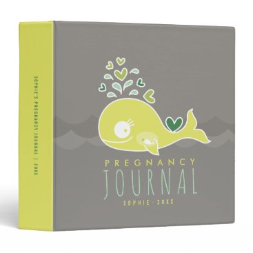 Beach Themed Green Mommy Whale Neutral Pregnancy Journal Binder