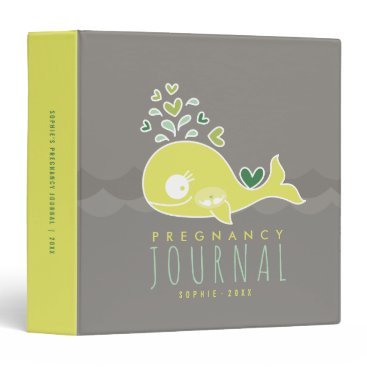 Beach Themed Green Mommy Whale Twins Pregnancy Journal Binder