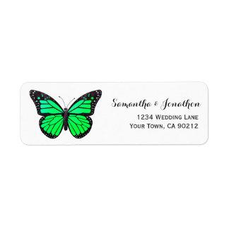 Green Monarch Butterfly Label