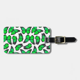 Green Monarch Butterfly Pattern Luggage Tag