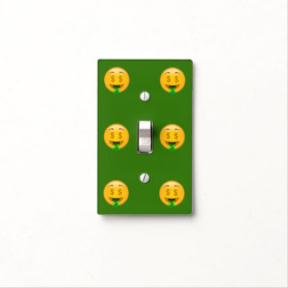 Green Money Mouth Emoji Light Switch Cover