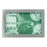 Green money rectangular belt buckles