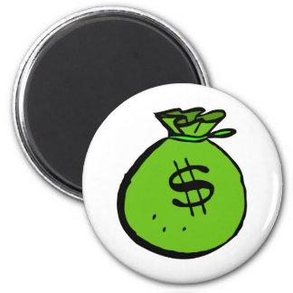 Green moneybag 2 inch round magnet