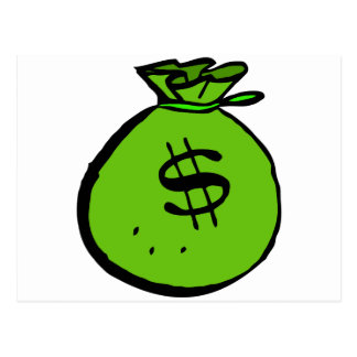 Green moneybag postcard
