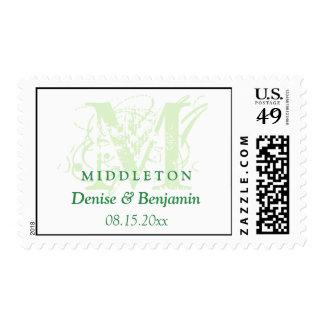 Green monogram antique chic custom wedding postage