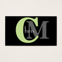 Green Monogram Business Cards