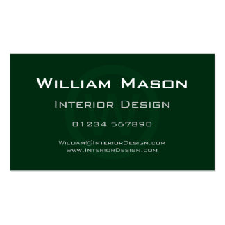 Green Monogram Circle - Professional Business Card
