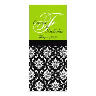 Green Monogram Damask Wedding Dinner Menus Card