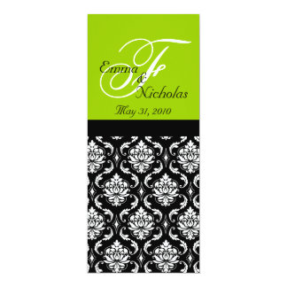"Green Monogram Damask Wedding Dinner Menus 4"" X 9.25"" Invitation Card"