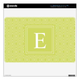 "Green Monogram Diamond Pattern Skins For 11"" MacBook Air"