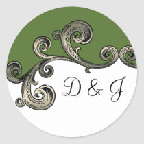 green monogram envelope seal