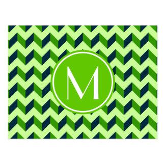 Green Monogram Green Chevron Patchwork Pattern Postcard