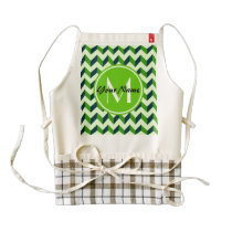 Green Monogram Green Chevron Patchwork Pattern Zazzle HEART Apron