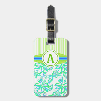 Green Monogram Hibiscus Flowers Tropical Beach Bag Tag