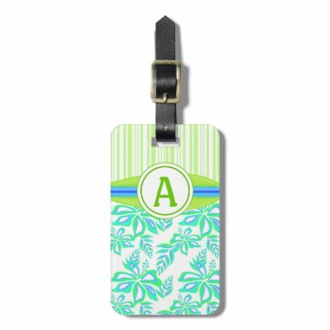 Beach Themed Green Monogram Hibiscus Flowers Tropical Beach Bag Tag