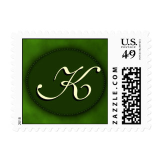 Green monogram in Oval - cream script initial K Stamps