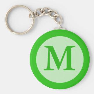 green Monogram Keychains