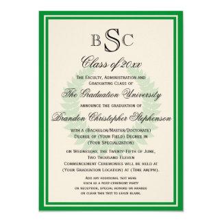 Green Monogram Laurel Classic College Graduation 4.5x6.25 Paper Invitation Card