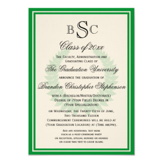 Green Monogram Laurel Classic College Graduation Card