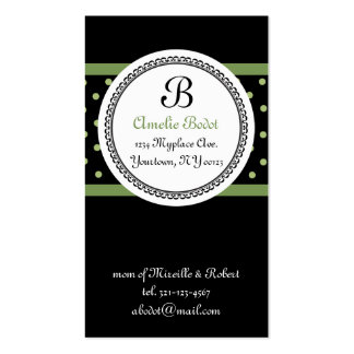green MONOGRAM mommy calling card Double-Sided Standard Business Cards (Pack Of 100)