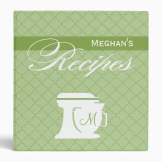 Green Monogram Recipe Book 3 Ring Binders