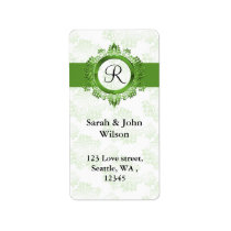 green monogram return address label