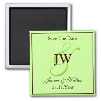 Green Monogram Save The Date Magnet