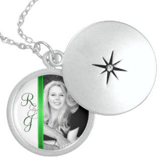 Green Monogram Silver Wedding Necklace