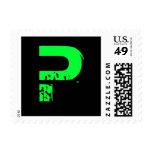 Green monogram stamps