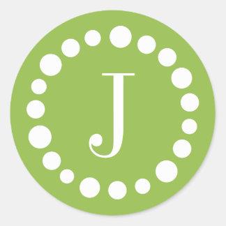 Green Monogram Stickers - White Polka Dots