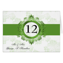 green monogram table seating card