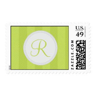 Green Monogram Thin Chevron Pattern Postage Stamp