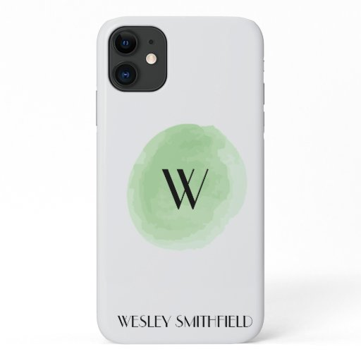 Green Monogram Watercolor iPhone 11 Case