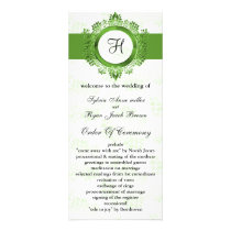 green monogram Wedding program