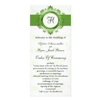 green monogram Wedding program